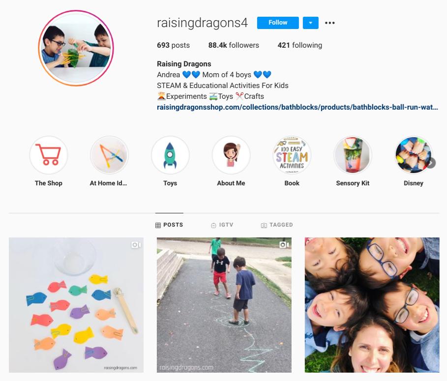 screenshot of Instagram profile for @raisingdragons4