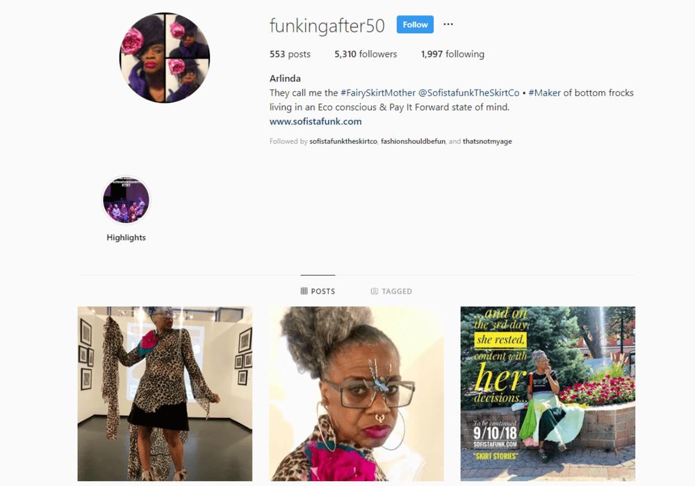 screenshot of Instagram profile for @funkingafter50