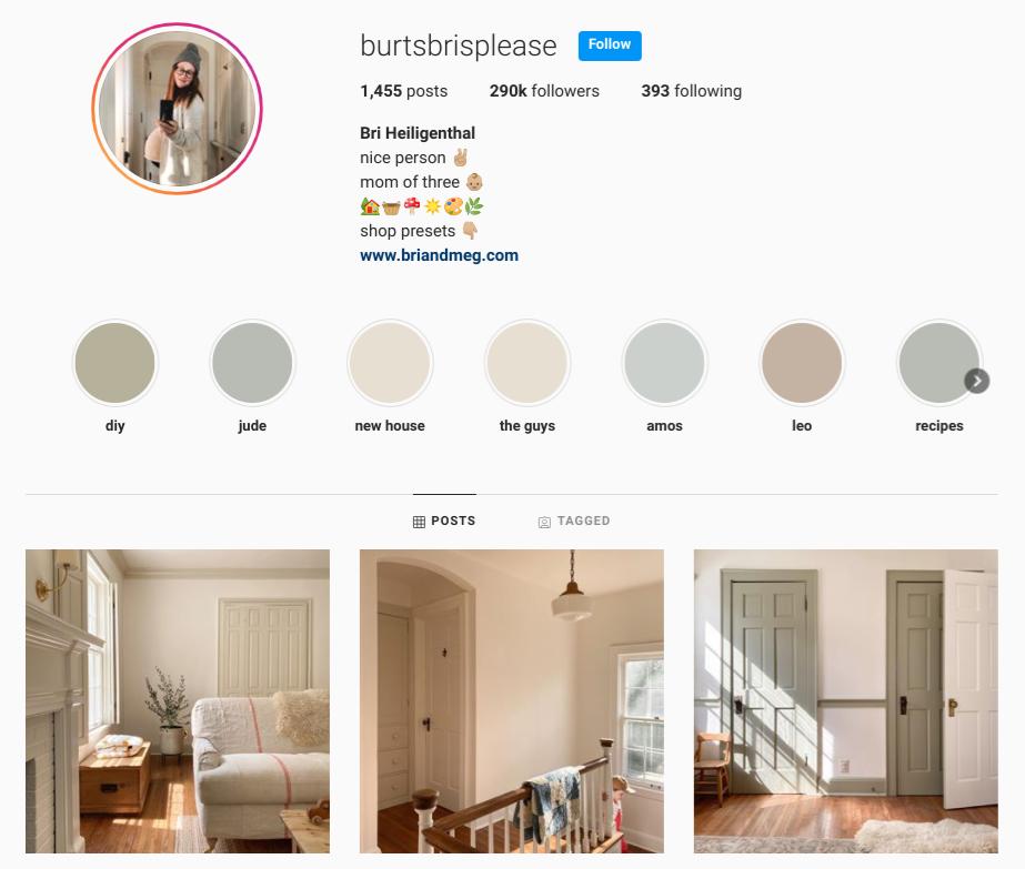 screenshot of the Instagram profile of  @burtsbrisplease