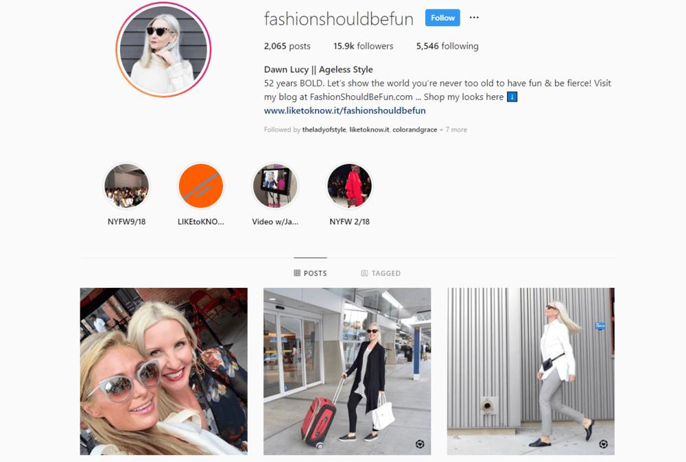 screenshot of Instagram profile for @fashionshouldbefun