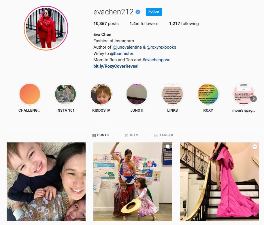 screenshot of the Instagram profile of @evachen212