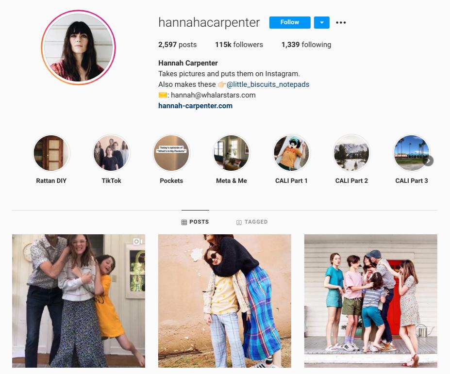 screenshot of Instagram profile for @Hannahacarpenter