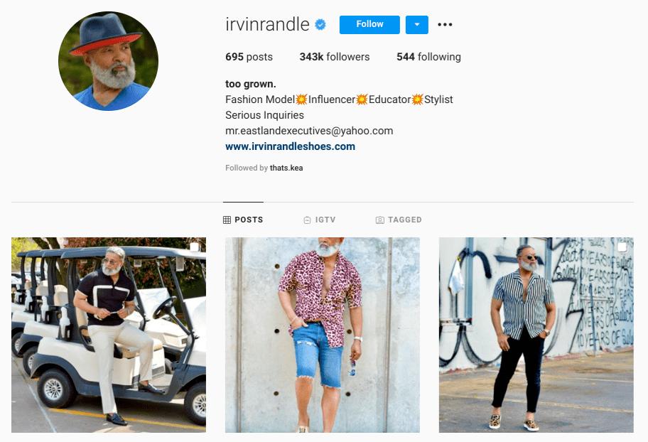 screenshot of Instagram profile of over-50 male model @irvinrandle