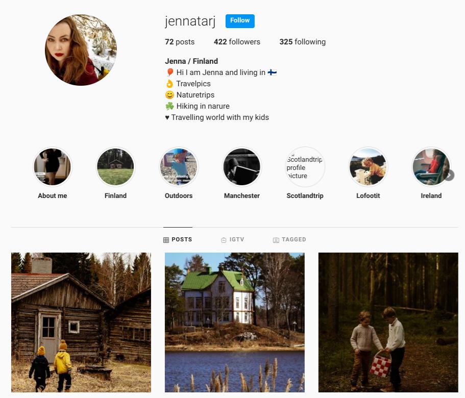 screenshot of the Instagram profile of @jennatarj