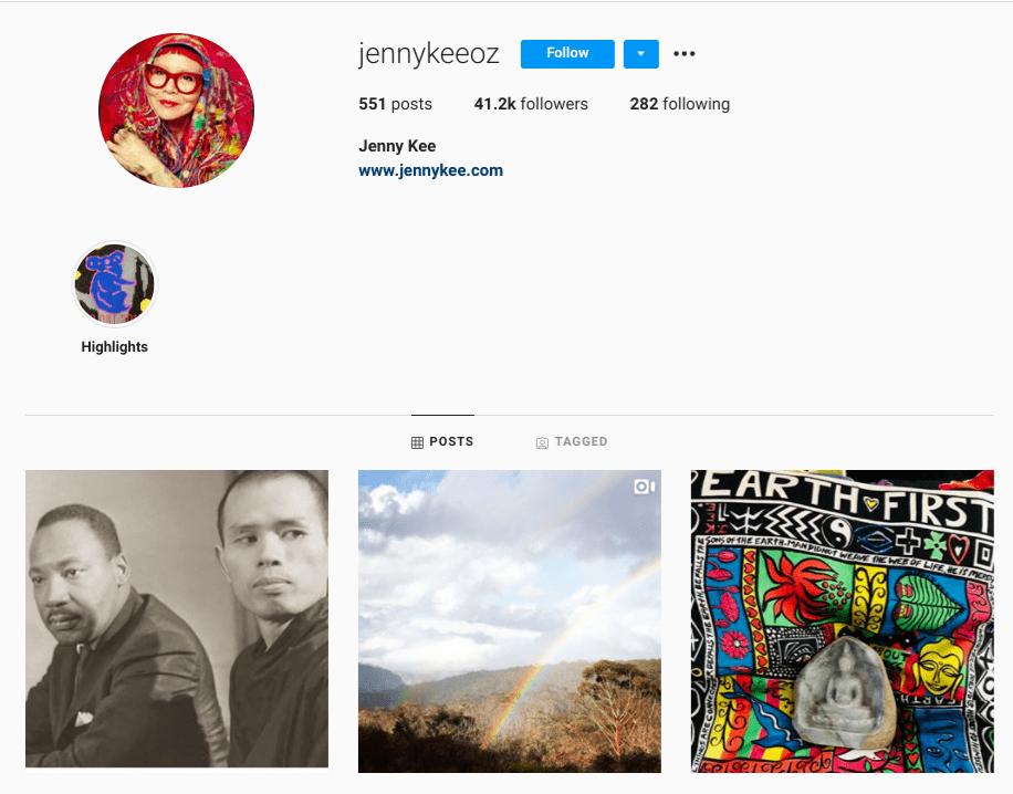 screenshot of Instagram profile for over-50 creator @jennykeeoz