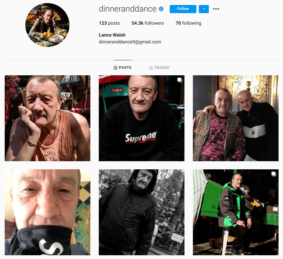 screenshot of Instagram profile of over-50 male influencer @DinnerAndDance