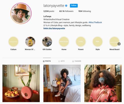 screenshot of the Instagram profile of latonyayvette