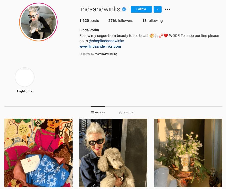 screenshot of Instagram profile of @lindaandwinks