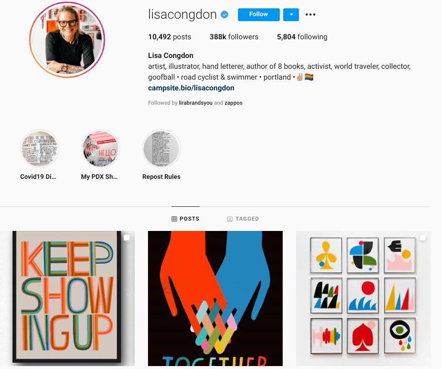 screenshot of Instagram profile of over-50 artist @lisacongdon