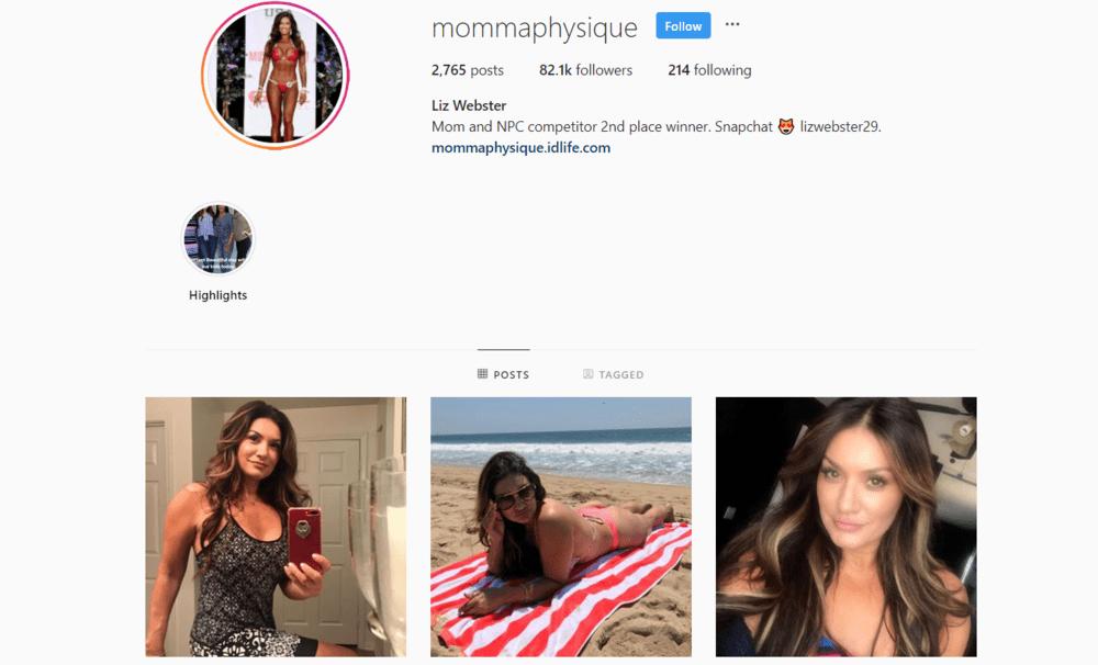 screenshot of Instagram influencer over 50 @mommaphysique