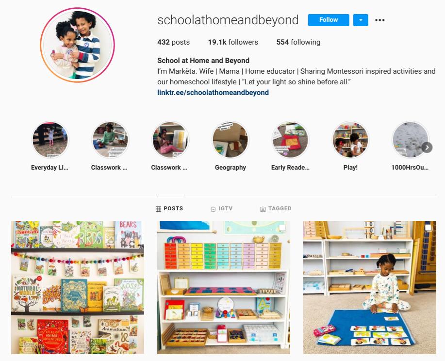 screenshot of Instagram profile for @schoolathomeandbeyond