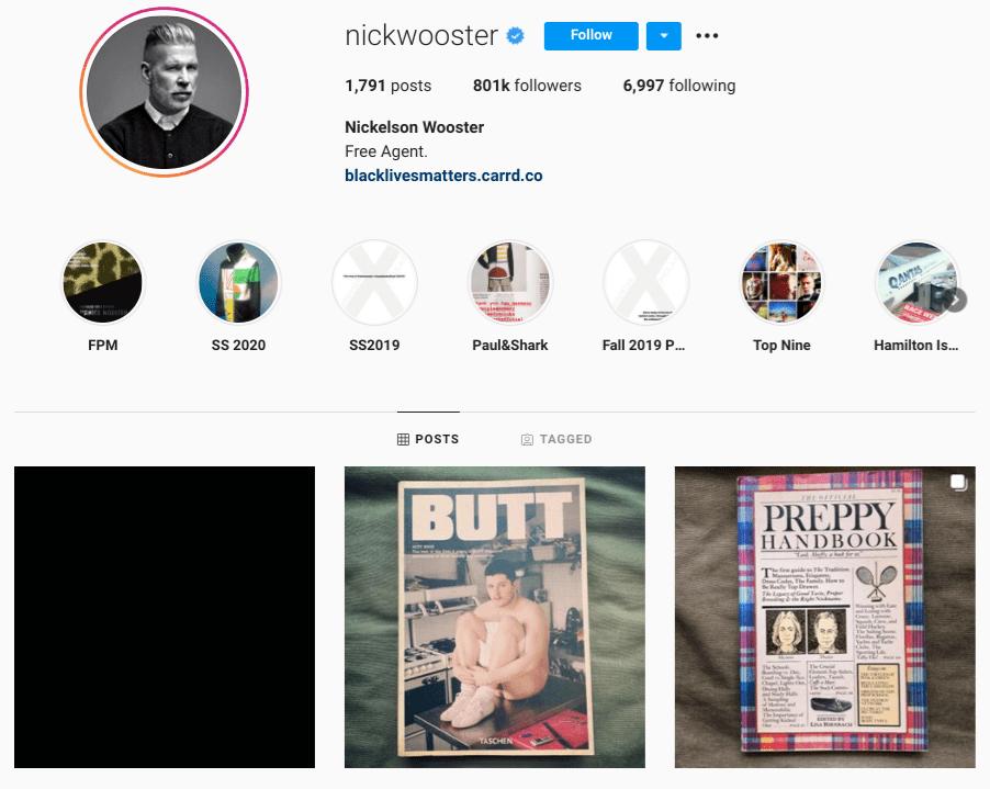 screenshot of Instagram profile of mature male model @nickwooster