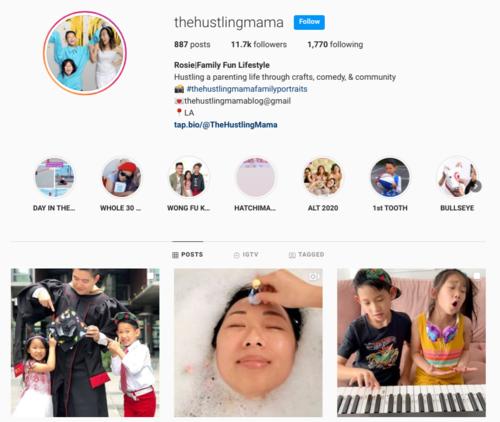 screenshot of the Instagram profile of @thehustlingmama