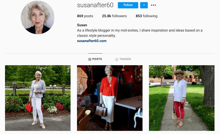 screenshot of Instagram profile for @susanafter60