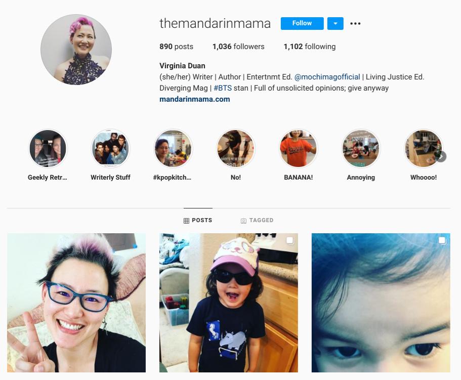 screenshot of Instagram profile for homeschooling mom @themandarinmama
