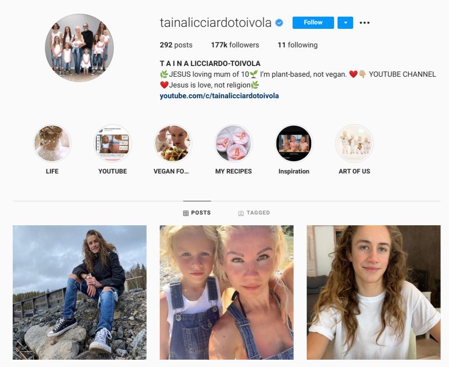 screenshot of Instagram profile for @tainalicciardotoivola