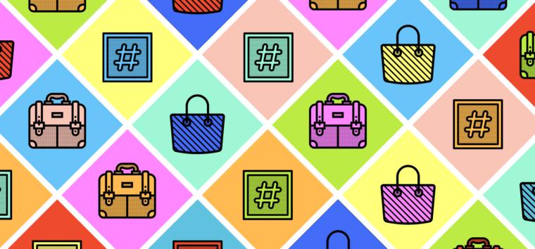 colorful diamond grid of handbag icons