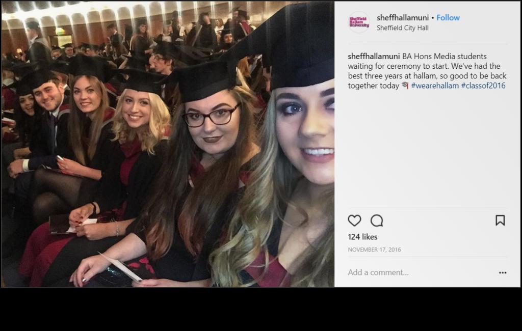 Screenshot of post from Sheffield Hallam University's Instagram Handle.