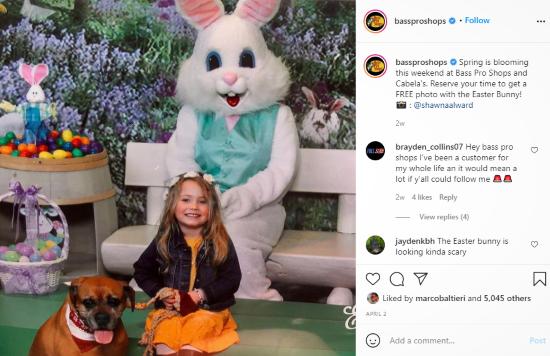 Screenshot of post by bassproshops's Instagram handle.