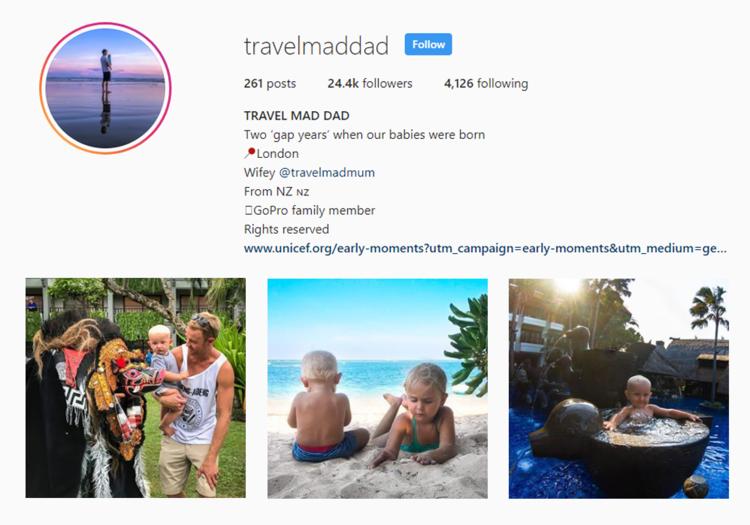 screenshot of Instagram profile of TRAVELMADDAD - SHAUN