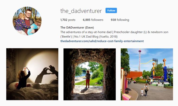 screenshot of Instagram profile of THE DADVENTURER - DAVE
