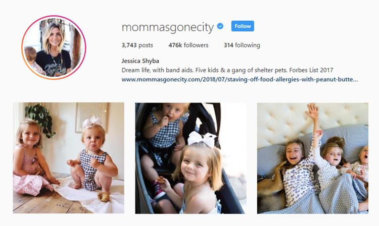screenshot of Instagram profile of MOMMAS GONE CITY - JESSICA SHYBA
