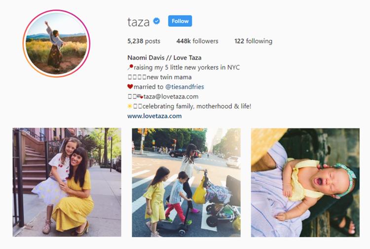 screenshot of Instagram profile of  LOVE TAZA - NAOMI DAVIS