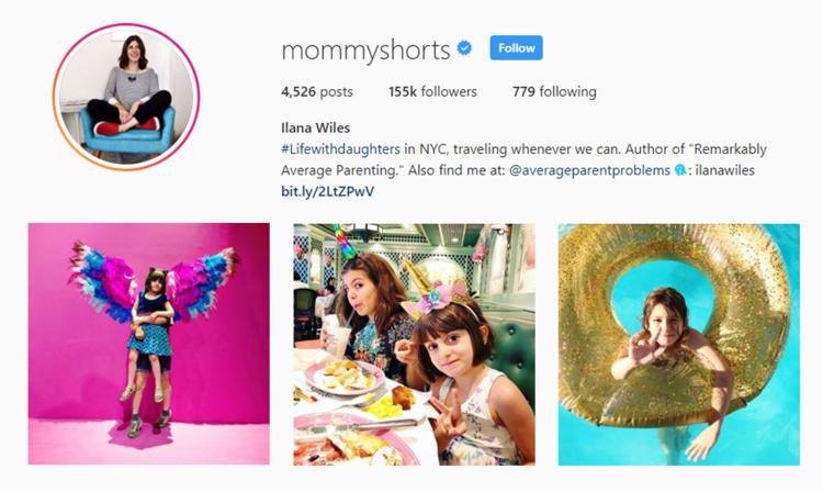 screenshot of Instagram profile of MOMMYSHORTS - ILANA WILES