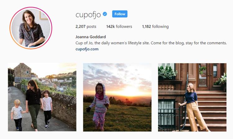 screenshot of Instagram profile of CUP OF JO - JOANNA GODDARD