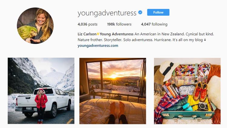 screenshot of Instagram profile of @youngadventuress