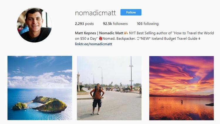 screenshot of Instagram profile of @nomadicmatt