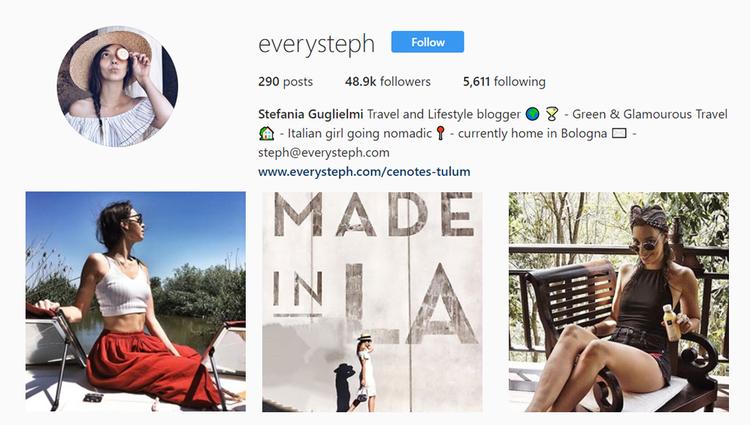 screenshot of Instagram profile of @everysteph