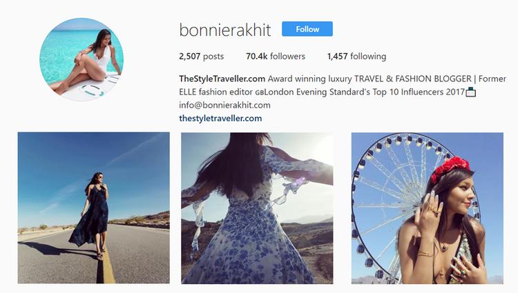 screenshot of Instagram profile of @bonnierakhit