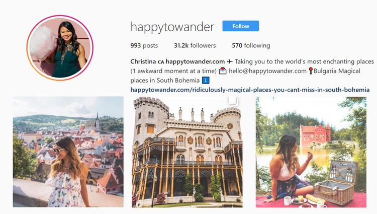 screenshot of Instagram profile of @happytowander