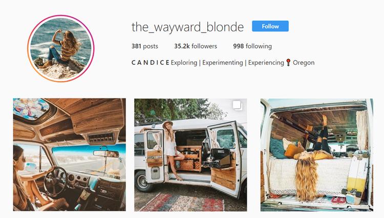 screenshot of Instagram profile of @the_wayward_blonde