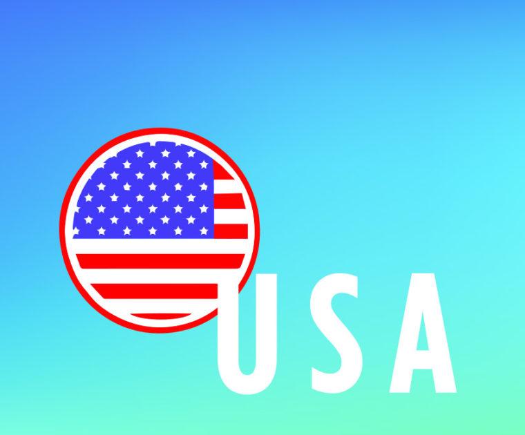round icon of US flag on turquoise background