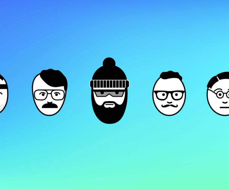 illustration of 5 different types of men