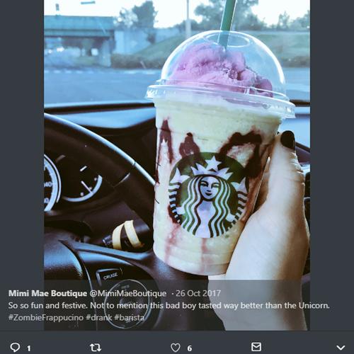 Twitter post from @mimimaeboutique of Starbucks zombie frap - UGC