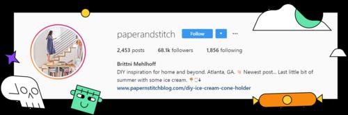 A screenshot of the description of @paperandstitch profile on Instagram.