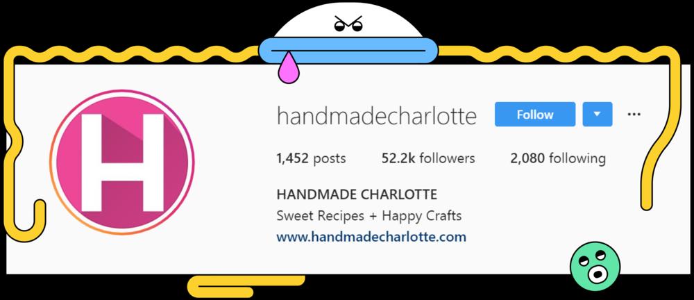 A screenshot of the description of @handmadecharlotte profile on Instagram.