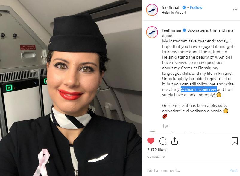 Screenshot of 5 posts from feelfinnair on Instagram.