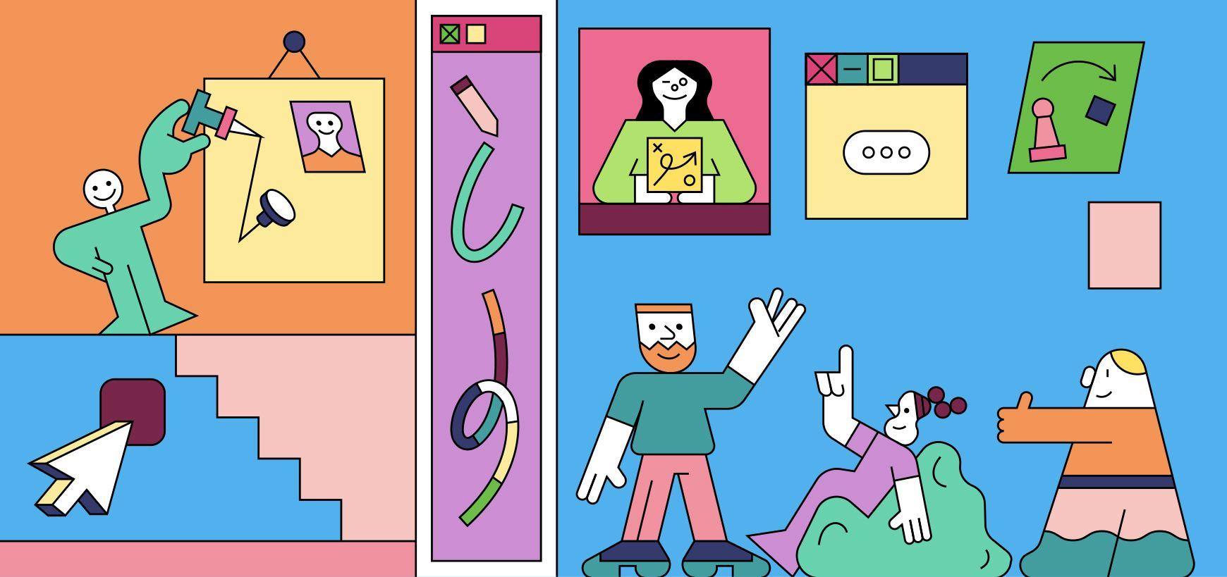 colorful line illustration for influencer selection