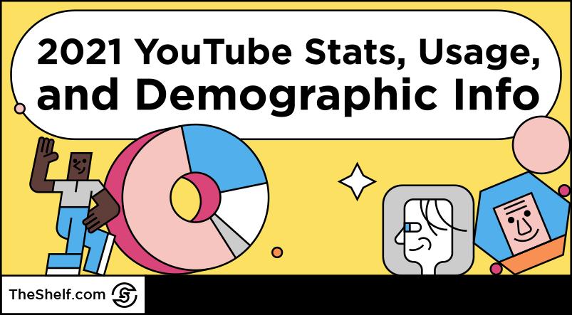 colorful line illustration - youtube statistics, usage, and demographics INFOGRAPHIC