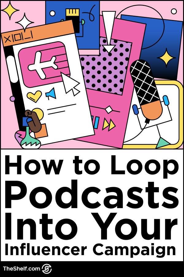colorful line illustration - podcast influencer marketing theme