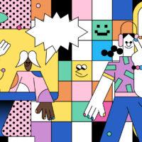 colorful line illustration - podcast influencer marketing