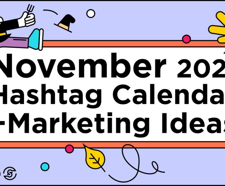 colorful line illustration title November 2021 Social Media Calendar