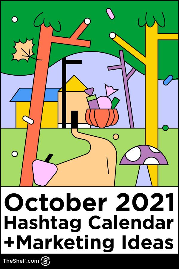 line illustration for October 2021 social media calendar - pinterest pin