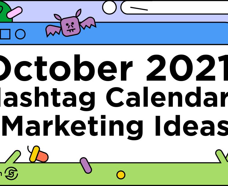 colorful line illustration title October 2021 Social Media Calendar