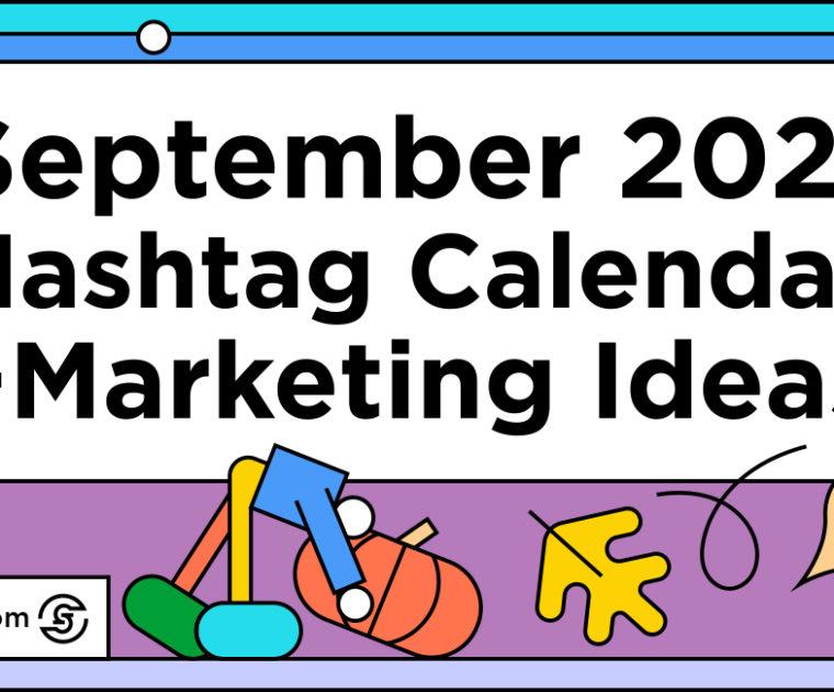 colorful line illustration title September 2021 Social Media Calendar
